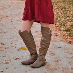 Taupe Over the Knee Fall Boots